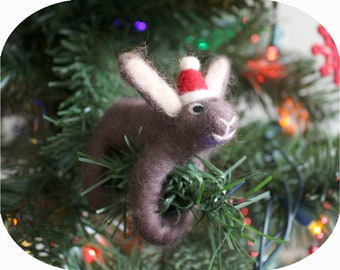 Felted European Hare Animal Christmas Tree Ornament (with Santa hat)