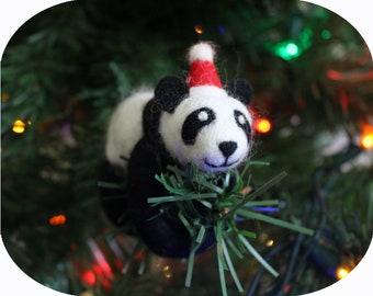Felted Panda Asian Animal Christmas Tree Ornament (with Santa hat)