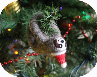 Felted 3-Toed Sloth South American Animal Christmas Tree Ornament (with Santa hat)