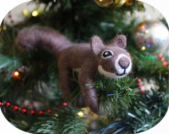 Felted Brown Squirrel North American Animal Christmas Tree Ornament