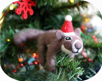 Felted Brown Squirrel North American Animal Christmas Tree Ornament (with Santa hat)
