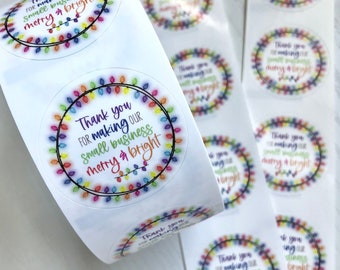 Small Business Christmas Thank You Stickers - Holiday Thank You Stickers - Merry & Bright Thank You Stickers - Christmas Light Stickers