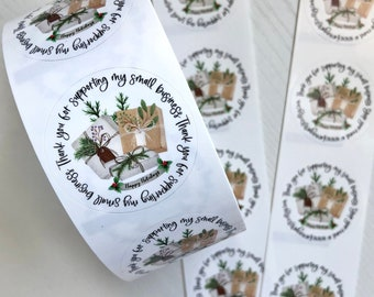 Custom Christmas Small Business Thank You Stickers - Holiday Thank You Stickers - Custom Christmas Package Presents Thank You Stickers