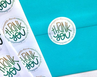 Custom Small Business Thank You Stickers - Hand Lettered Thank You Labels - Custom Business Stickers - Personalized Thank You Stickers