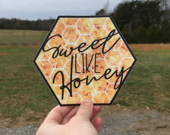 Gift for Beekeeper Decal / Apiary Bumper Sticker / Honey Bee Tumbler Decal / Farmers Market Apiary Honeycomb Decal / Gift for Apiarist