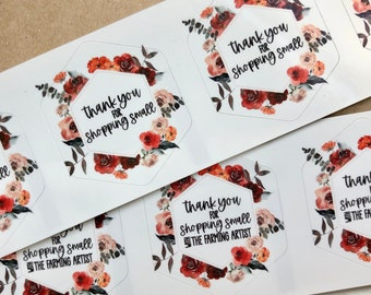 Custom Small Business Thank You Stickers - Thank You Labels - Custom Fall Business Stickers - Customized Autumn Thank You Stickers - Floral