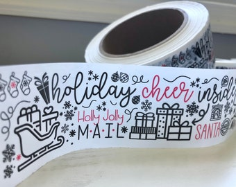 Cute Holiday Shipping Tape - Fun Christmas Packing Tape - Small Business Shipping Supplies - Large Roll 110 Yards 330 Feet