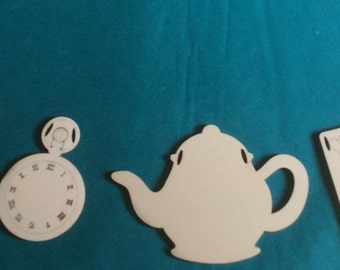 unpainted 6 pieces Gorgeous Alice in Wonderland Mad Hatter tea party bunting