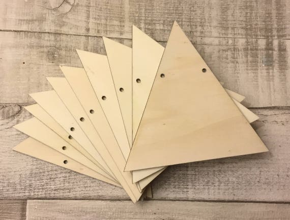 set of 10 laser cut wooden stars unpainted two holes for garland bunting