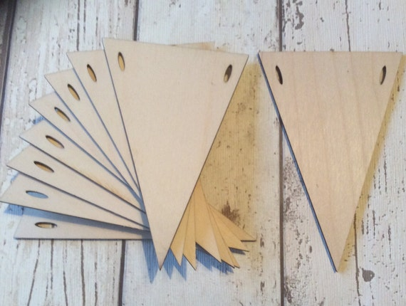 Set of ten triangle pennants for garlands or bunting laser wood slits or holes
