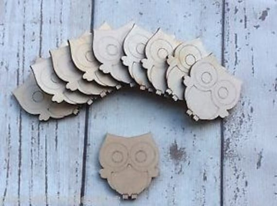 10 laser cut wooden mini tiny owls unpainted perfect shabby chic embellishments