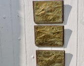 Antique Brass Hunting Plaques - 3 French Country Folk Art - Engraved Brass on Wood Vintage Wall Art Furniture