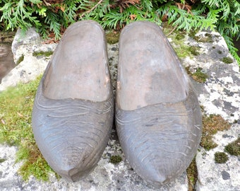 Vintage Clogs Pair of French Ladies ShoesSabots 1930s Ladies Clogs Treen Hand Made and Carved in Hardwood