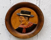Wood Wall Plaque - Vintage Carved French Diorama - 1930s French Country Home Decor Wall Plate