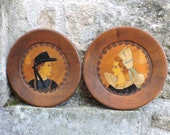 1930s Wall Plaques - 2 French Vintage Breton Pictograph Souvenirs - PAIR of Wall Hanging Diorama Wall Plates - French Furniture