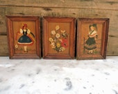 3 Vintage Wood Wall Plaques, French Folk Art Pictograph, Wall Hanging Diorama Wall Pictures, French Furniture