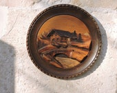 Vintage Carved Wood Wall Plaque - French Mountains Alpine Diorama - 1930s French Country Home Decor Wall Plate - Cabin Art