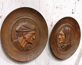 Pair of Carved Wall Plaques - Vintage French Wooden Dioramas - 1920s French Country Decor Wall Plates
