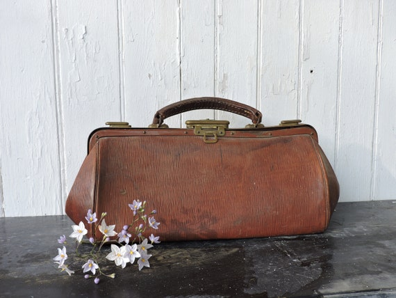 French Leather Doctors Bag, Small Luggage Bag, Vin