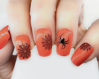 Spider Web Nail Decal Spider Set No 1 Black Spider and Webs Halloween Nail Art Web Nail Designs NAILTHINS