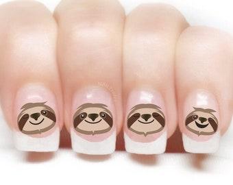 Sloth Nail Decal Set 2 Sloth faces Sloth nail art designs, Adult and Tween Nail art by NAILTHINS