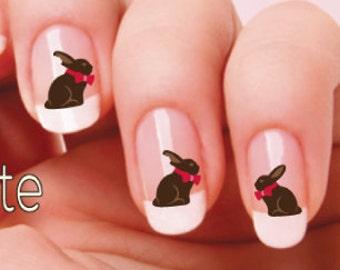 Chocolate Bunnies Nail Decal Easter Nail art  NAILTHINS Nail Design