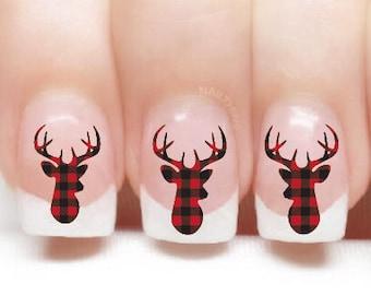 Plaid Deer Head nail decal Buffalo Check Nail Wrap Deer HeadNail Art Set #1 Christmas Nails  By NAILTHINS