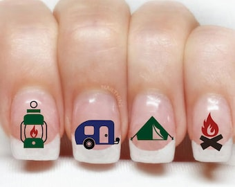 Camping Nail Decal Happy Camper Set 1 In Silhouette Nail Wrap Etsy