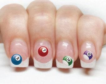Billiard ball nail decal Pool ball  Nail Art billiards nail wraps by NAILTHINS