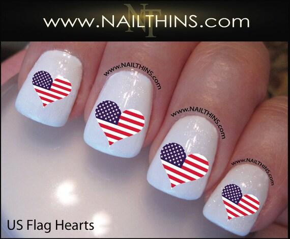 Usa Flag Nail Decal In A Heart Shape Nail Art And Nail Wraps Etsy