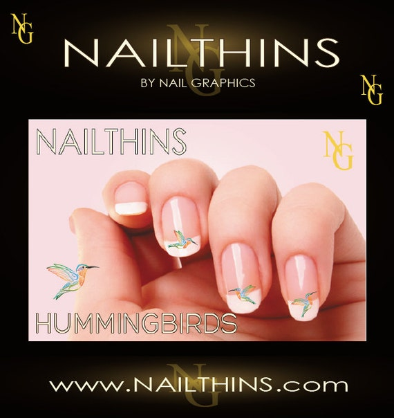 Hummingbird Nail Decal Colorful Hummers Nail Art Nailthins Etsy