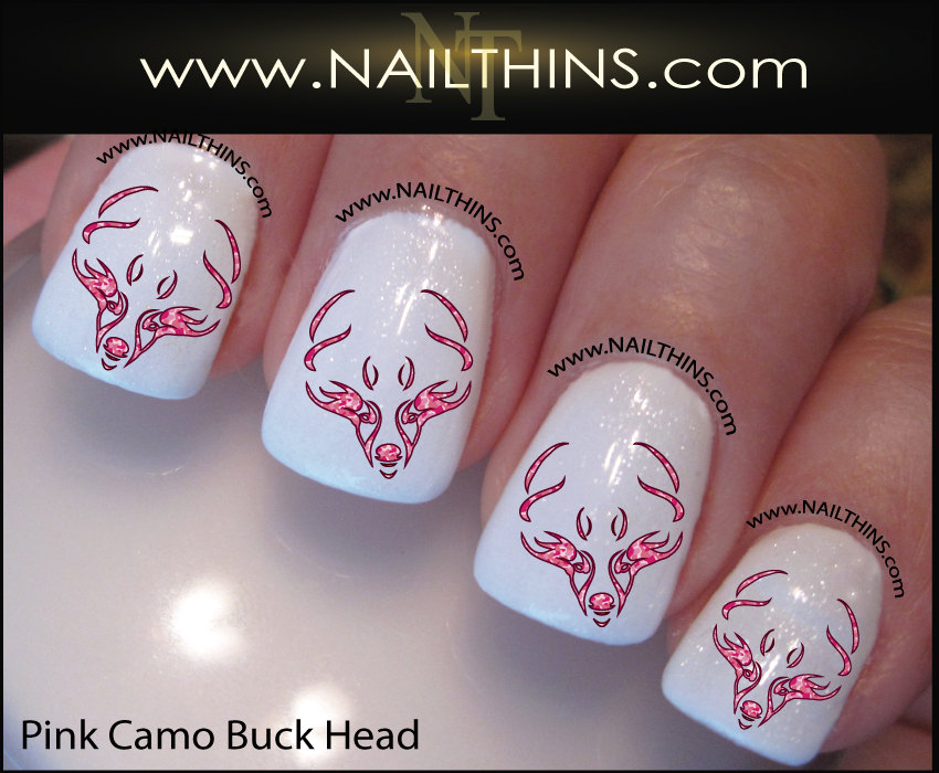 Pink Camo Buck Nail Decal Deer Nail Art, Nail Designs by NAILTHINS ...