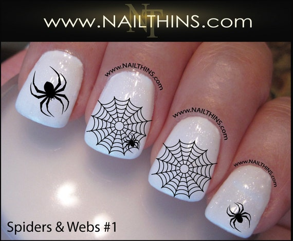 image 0 - Spider Web Nail Decal Spider Set No 1 Halloween Nail Art Web Etsy