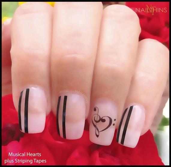 Hearts Music Note Nail Decal Music Heart Nail Decal Nailthins Etsy