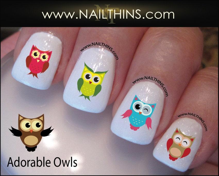 Owl Nail Decals, Bird nail wraps, Owls nail art owl nail sticker by ...