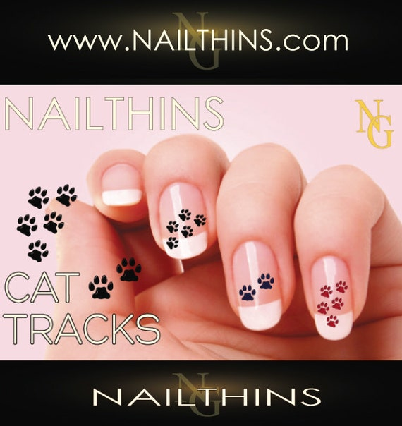 CAT Paw Prints Nail Decal Feline paw print nail art design | Etsy