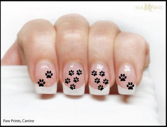 Dog Paw Print Nail Decal Canine Nail Art Animal Tracks Nail Etsy