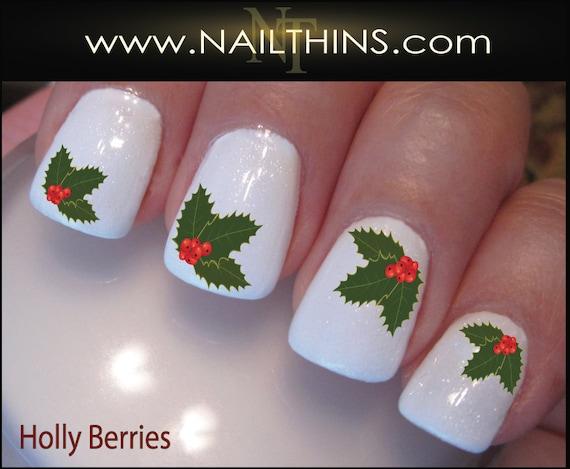 Holly Berries Nail Decals Holiday Holly Nail Design Nail Art Etsy