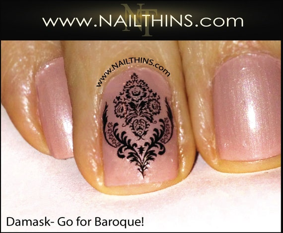 Damask Nail Decal Baroque Nail Art Nail Etsy