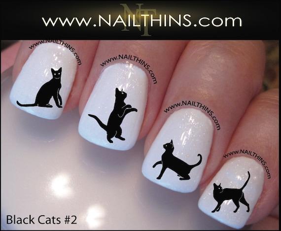 image 0 - Black Cat Nail Decal Set 2 Kitty Nail Art Nail Designs Etsy
