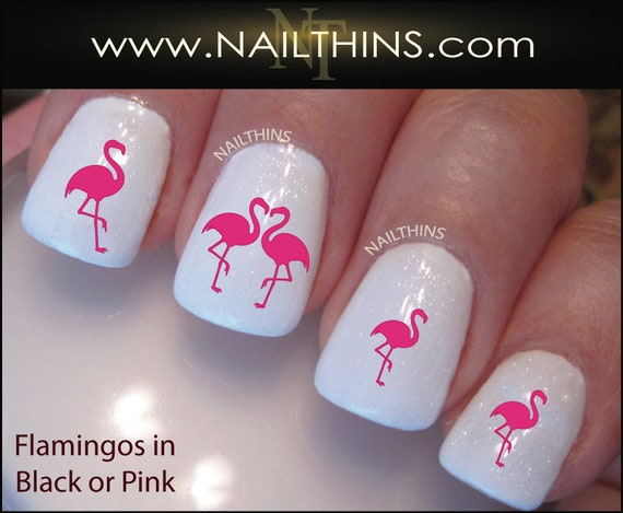 image 0 - Pink Flamingo Nail Decals Flamingo Nail Art Bird Nail Wraps By Etsy