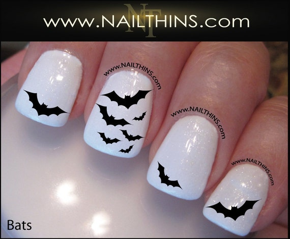 image 0 - Bat Nail Decal Halloween Nail Art Vampire Bat Nail Wrap Bats Etsy