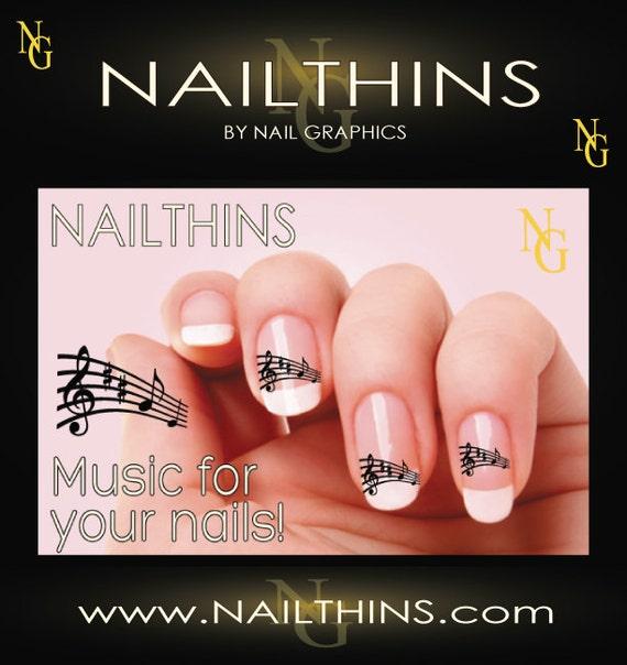 Music Notes Nail Decal Design Set No1 Nailthins Nail Art Etsy