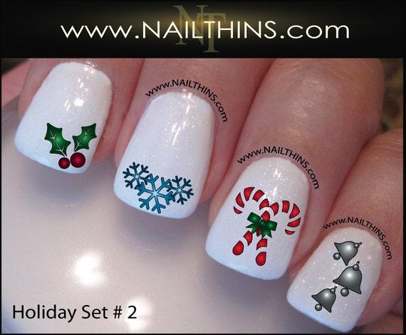 Christmas Nail Decals Holly Nail Art Winter Holiday Set No 3 Etsy