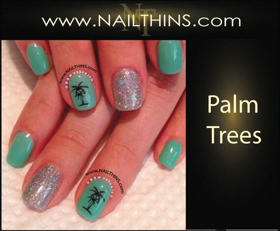 Palm Tree Nail Decal Tropical Nail Designs Nailthins Etsy