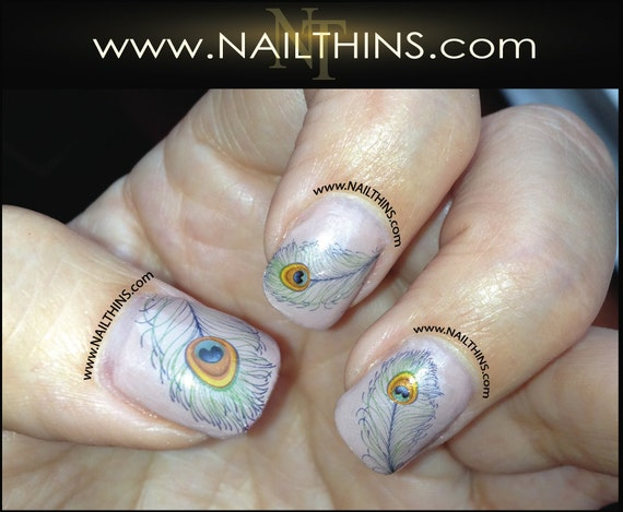 Peacock Feather Nail Decal Peacock Nail Art Feather Nail Etsy