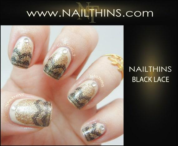 Lace Nail Decal Black Lace Nails Nail Design Nailthins Etsy