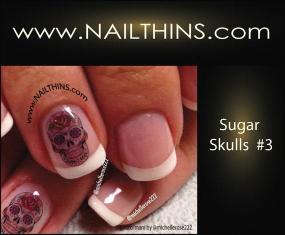 image 0 - Nail Decal SUGAR SKULL Nail Art Set 3 Hearts Roses Skull Nail Etsy