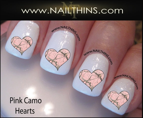 Pink Camo Hearts Nail Decal Camouflage Nail Design By Etsy