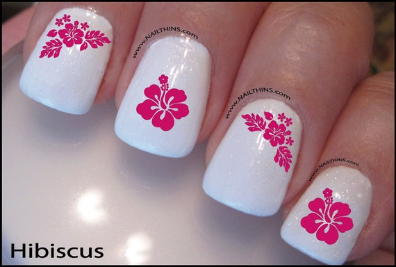 50 - Hibiscus Nail Decal Hawaii Flower Pink Blue Or Red Hawaiian Etsy